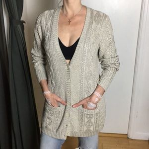Oversized Cable Knit Grandpa Cardigan Top